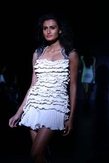 A model showcasing designer Reena Dhaka''s creation at the Wills Lifestyle India Fashion week in New Delhi on Sunday