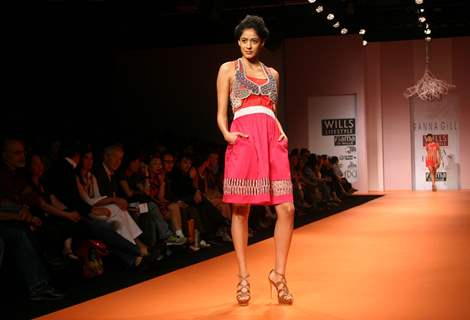 A model showcasing designer Rana Gill creation at the Wills Lifestyle India Fashion week in New Delhi on Sunday