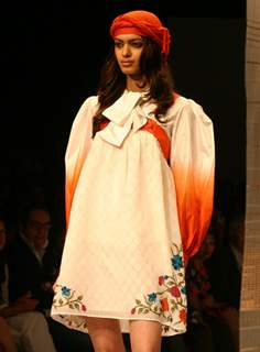 A model showcasing designer Ritu Kumar creation at the Wills Lifestyle India Fashion week in New Delhi on Sunday