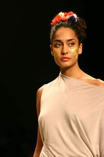 A Model showcasing designer Sanchita''s creation at the Wills Lifestyle India Fashion Week in New Delhi on Monday 26 Oct 2009