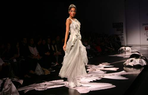 A model showcasing designer Gaurav Gupta''s creation at the Wills Lifestyle India Fashion week in New Delhi on Tuesday 27 Oct 2009