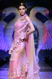 A model showcasing designer Suneet Verma''s creation at the Wills Lifestyle India Fashion week in New Delhi on Tuesday 27 Oct 2009