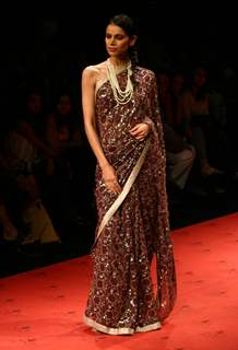 Designer Meera Mujaffar''s creation at the Wills Lifestyle India Fashion week in New Delhi on Tuesday 28 Oct 2009