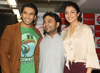 Ranveer Singh ,Maneesh Sharma and Anushka Sharma at Reliance Digital to promote their film