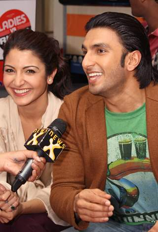 "Ranveer and Anushka at Reliance Digital to promote their film ""Ladies vs Ricky Bahl"" in New Delhi"