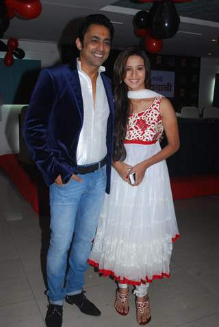 Anuj Saxena with Shivani Surve at Anuj Saxena's bash on Saturday