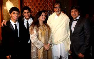 Amitabh Bachchan with Adesh Shrivastava and his family at the Birthday Party