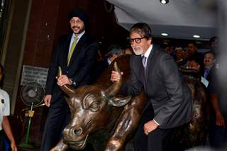 Amitabh Bachchan at the BSE with the bull