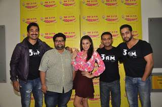 Cast of 3 am poses for the media at the Promotion of the Movie 3AM at Radio Mirchi