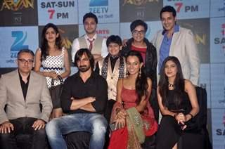 Team poses for the media at the Launch of Mahrakshak Aryan
