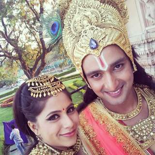 2915 sourabh raaj jain with veebha aanand on the sets of mahabharat