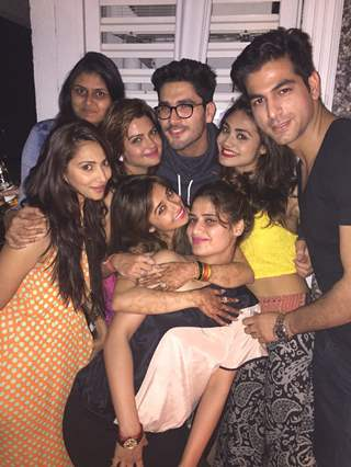 Tina Dutta poses with co-stars at her Get Together