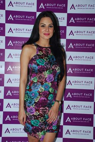 Aanchal Kumar poses for the media at About Face Salon Launch