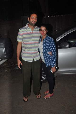 Shruti Seth poses with her husband at the Screening Held by Rajkumar Rao