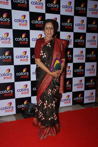 Usha Nadkarni poses for the media at the Launch of Colors Marathi