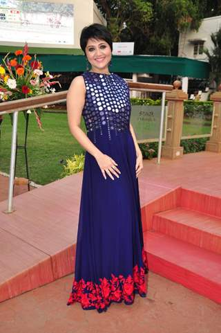 Swastika Mukherjee poses for the media at the Derby