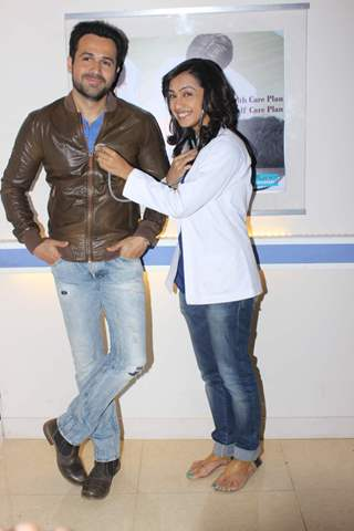 Emraan Hashmi and Abigail Jain pose for the media at the Promotions of Mr. X on Zindagi Wins