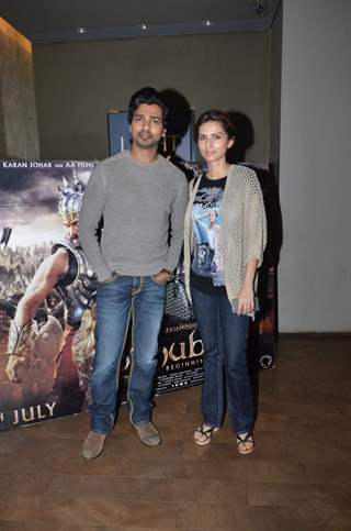Nikhil Dwivedi and Gauri Pandit at Screening of Bahubali