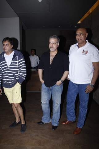Naved Jaffery and Puneet Issar pose for the media at the Screening of Bahubali