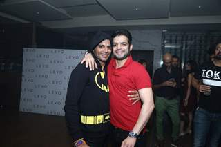 Karanvir Bohra poses with Karan Patel at his Birthday Bash