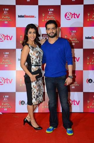 Karan Patel with wife Ankita Bhargava at Indian Telly Awards
