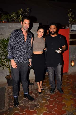 Sunny Leone with VJ Andy Snapped at Fatty Bao in Bandra
