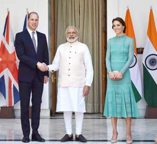 Prince William and Kat with PM Narendra Modi at Padma Bhushan Awards 2016 Ceremony
