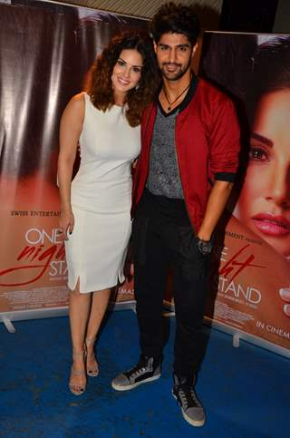 Sunny Leone and Tanuj Virwani at Promotions of the film 'One Night Stand'