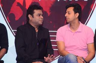 A.R. Rahman, Sulaiman Merchant and Salim Merchant at Qyuki musical collaboration with YouTube event
