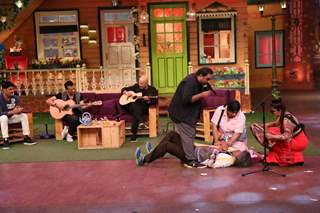 Shankar Ehsaan Loy on the sets of The Kapil Sharma Show