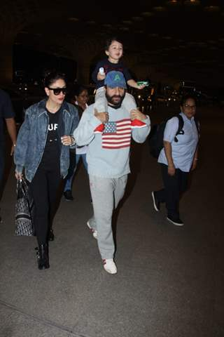 Kareena Kapoor, Saif Ali Khan and Taimur Ali Khan snapped at Mumbai Airport