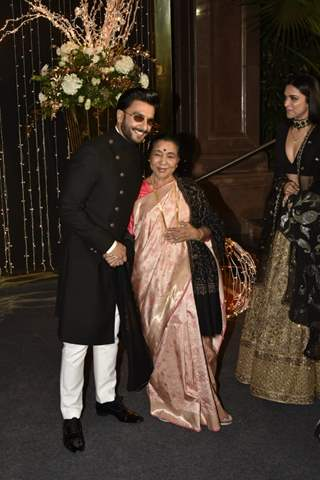 Asha Bhosle with Ranveer and Deepika at Priyanka Chopra and Nick Jonas Wedding Reception, Mumbai