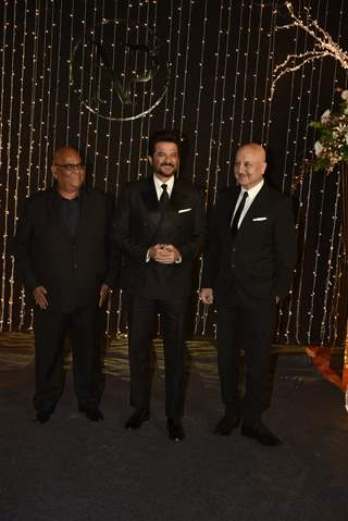 Anil Kapoor, Satish Kaushik, Anupam Kher at Priyanka Chopra and Nick Jonas Wedding Reception, Mumbai