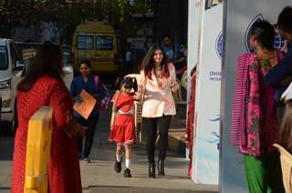 Aishwarya Rai Bachchan snapped with Aaradhya Bachchan at Ambani School