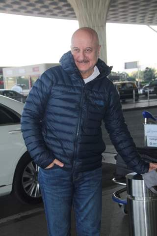 Anupam Kher Snapped at the Airport