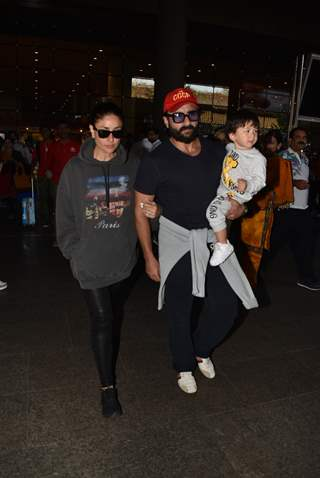 Saif Ali Khan, Kareena Kapoor and Taimur Ali Khan spotted at Mumbai Airport