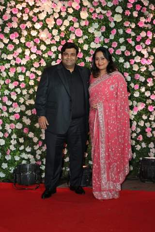 Kiku Sharda with wife at Kapil Sharma and Ginni Chatrath's Reception, Mumbai