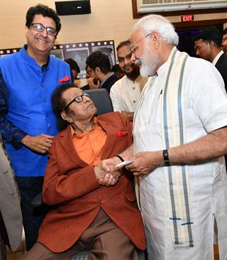 Prime Minister Narendra Modi with Manoj Kumar snapped at The National Museum of Indian Cinema