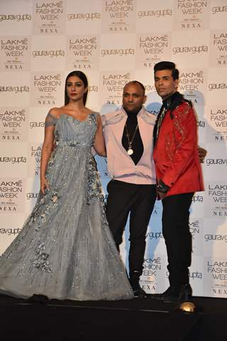 Karan Johar and Tabu at Lakmé Fashion Week Opening Show