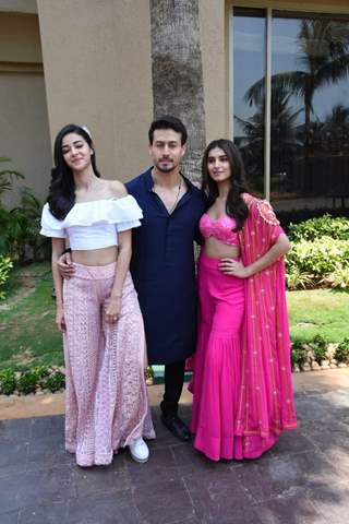 Ananya-Tiger-Tara pose for a picture at the song launch of SOTY2