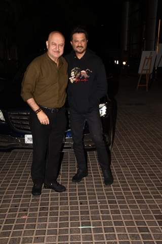 Anupam Kher with Anil Kapoor snapped at special screening of India's Most Wanted.