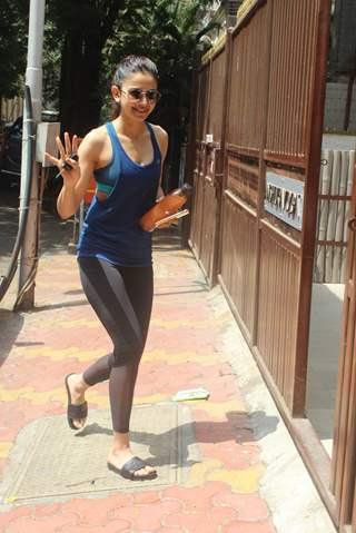Rakul Preet Singh snapped outside her gym