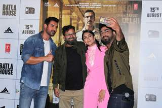 John Abraham, Mrunal Thakur and director Nikkhil Advani were snapped at the trailer launch of Batla House