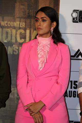 Mrunal Thakur was snapped at the trailer launch of Batla House