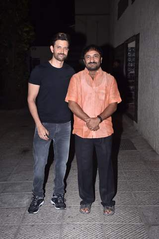 Hrithik Roshan and Anand Kumar snapped during a special screening of Super 30