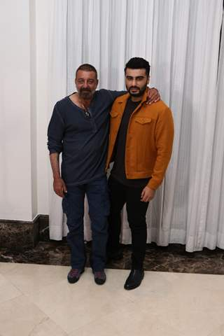 Arjun Kapoor and Sanjay Dutt snapped during the promotions of Panipat