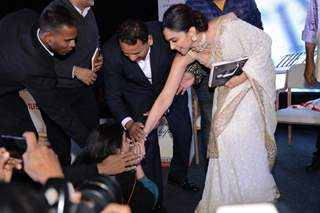 Deepika Padukone interacts with a fan at Sridevi's book launch