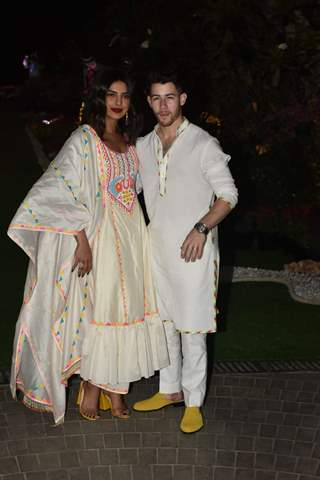 Priyanka Chopra and Nick Jonas at Ambani Holi House Party