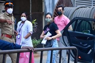 Esha Deol with husband Bharat Takhtani spotted at Dadar vaccination centre