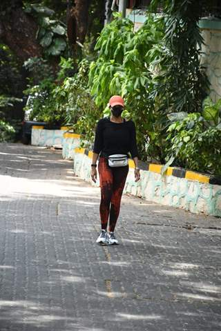 Mandira Bedi spotted in Bandra as she steps out for a walk!
